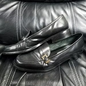Etienne Aigner Black Leather Gold Buckle Loafers